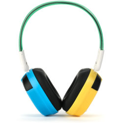 Bravo View BTS-03 - KID FRIENDLY Bluetooth Wireless Headphones (Blue/Yellow)